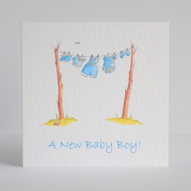 New Baby Boy Card  'Baby Clothes line'