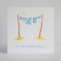 New Baby Boy Clothes Card