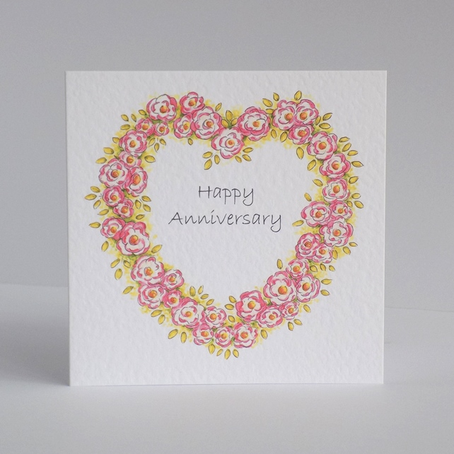 Anniversary Card  Rose Heart