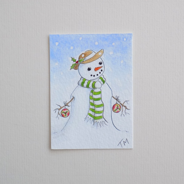 Original Watercolour ACEO 'Holly Snowman'