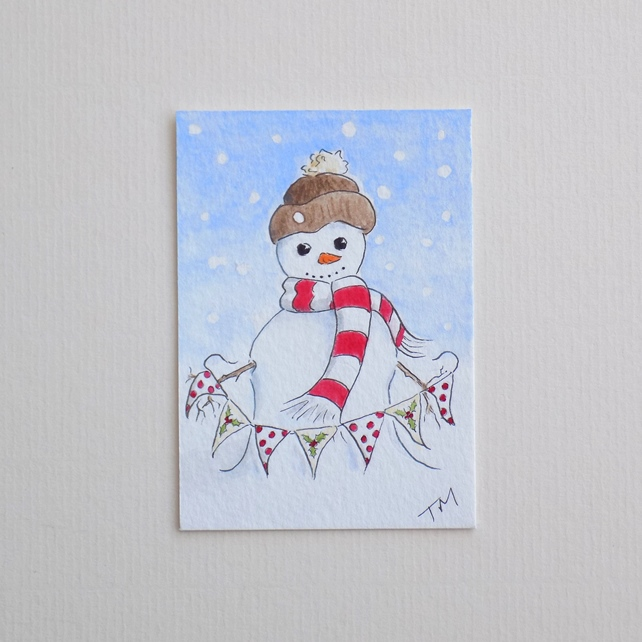 Original Watercolour ACEO 'Bunting Snowman'