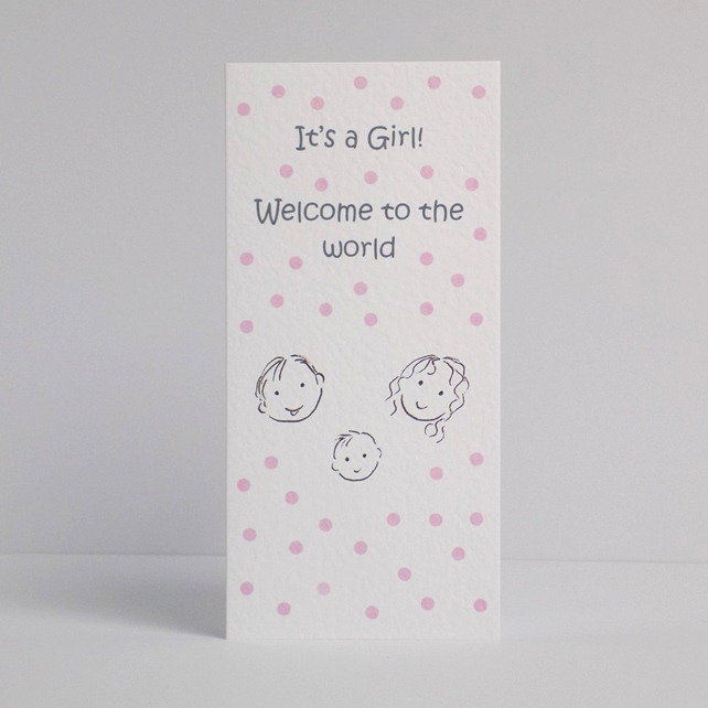 New Baby Girl Card Dotty