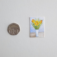 Miniature Watercolour Painting 'Daffodils' (2.5cm x 3.5cm)