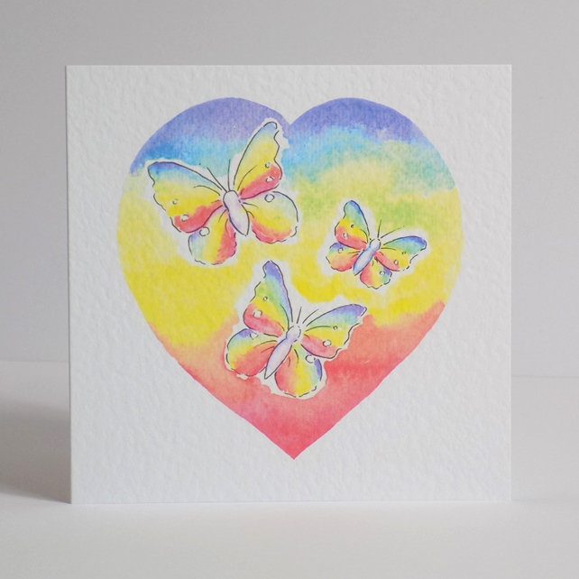 Blank Greeting Card Rainbow Heart