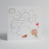 Chocolate & Wine Maze Blank Card