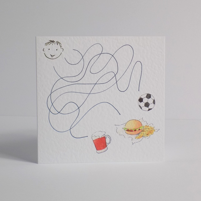 Football & Beer Maze Blank Card