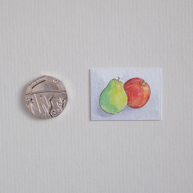 Miniature Watercolour Painting 'Apple & Pear' (2.5 cm x 3.5 cm)