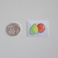 Miniature Watercolour Painting 'Apple & Pear'