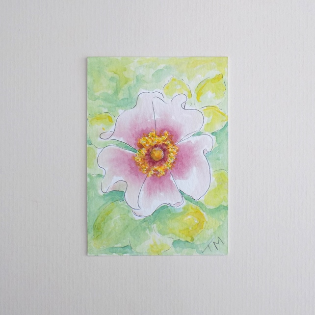 Original Watercolour ACEO 'Garden Rose'