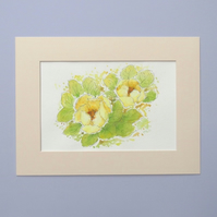 Original Watercolour Painting 'Yellow Peony'
