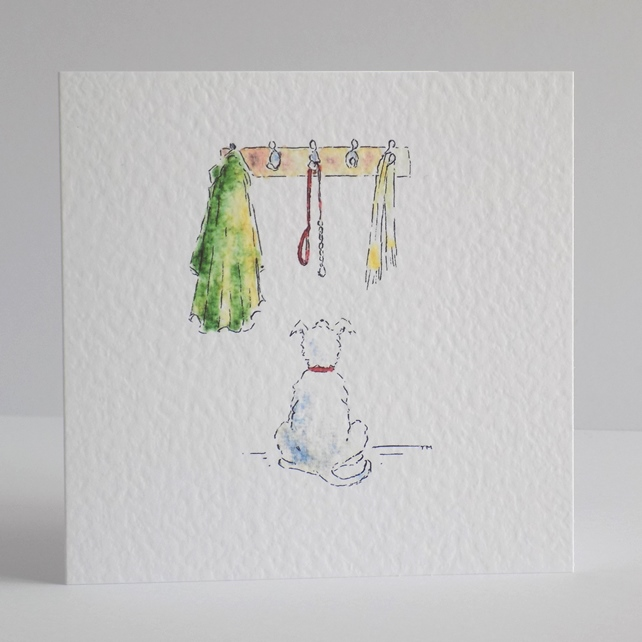 Blank Card  'Walkies' dog