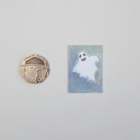 Halloween Miniature Watercolour Painting 'Ghost'