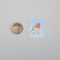 Christmas Miniature Watercolour Painting 'Christmas Robin' (2.5 cm x 3.5 cm)