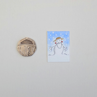 Christmas Miniature Watercolour Illustration  'Christmas Hat'