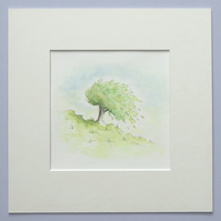 Watercolour Illustration 'Tree Hill'