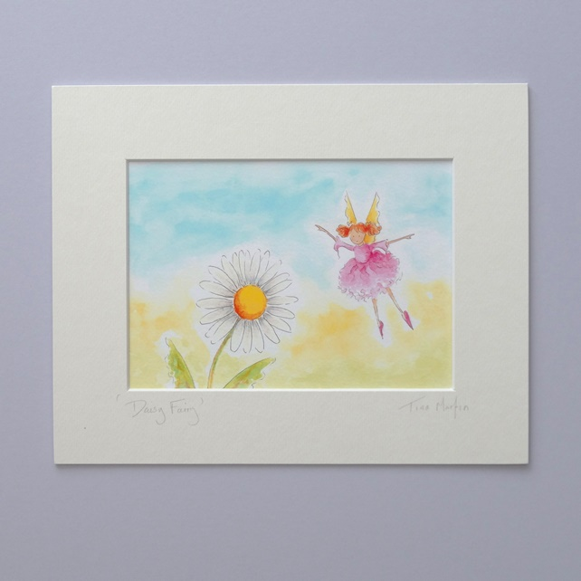 SALE    Mounted Fairy Print - 'Daisy Fairy'