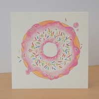 Pink Doughnut Eco Friendly Blank Card