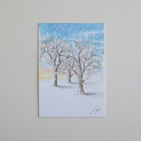 Original Watercolour ACEO  'It's Snowing'