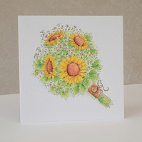 Sunflower Bouquet  Blank Card