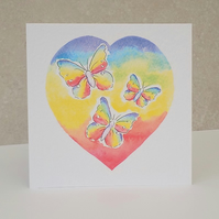 Rainbow Heart Blank Card