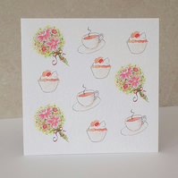 Tea, Cake & Flower's Blank Card