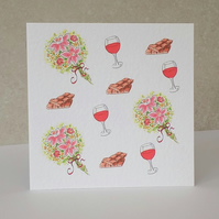 SALE     Chocolate, Wine & Flower's Blank Card