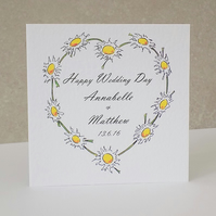 Personalised Wedding Card Daisy Chain