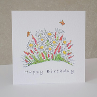 Birthday Card Daisy garden