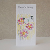 Happy Birthday Card   Butterfly Flowers