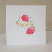 Blank Card  Strawberry Cupcake