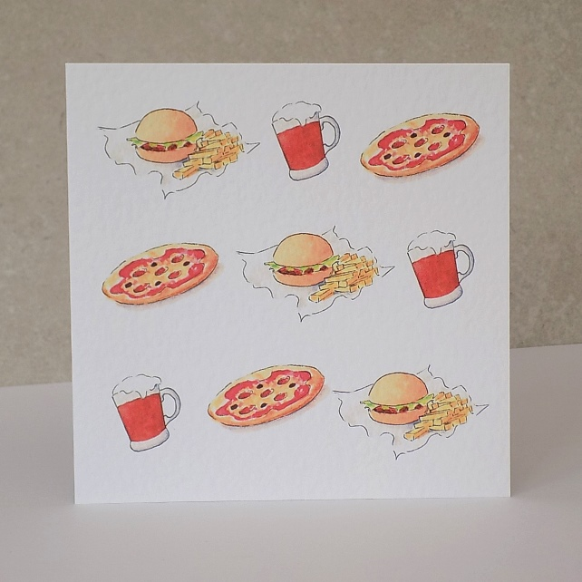 Beer, Pizza & Burger Blank Card