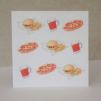 SALE   Beer, Pizza & Burger Blank Card