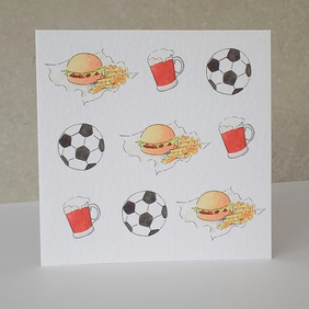 Football, Beer & Burger Blank Card