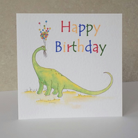 Birthday card  'Dinosaur Balloons'