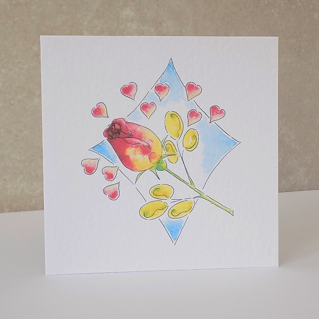 Greeting card - 'rose hearts'