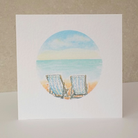 Deckchairs Blank Greeting Card