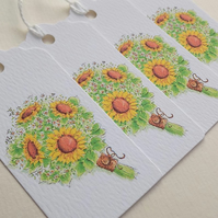 Sunflower Gift Tags (pack of 4 eco friendly)