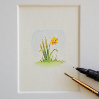 Original Mounted Miniature Painting  Daffodil