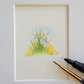 Original Mounted Miniature Painting  Snowdrops