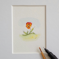 Original Mounted Miniature Flower Painting Pansy