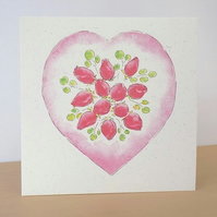 Eco-Friendly Card  Rosebud Heart - Blank