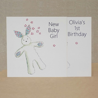 Eco Friendly card  -  New Baby or  Personalised 1st Birthday