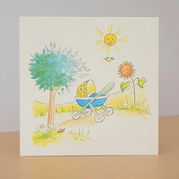 Eco Friendly Card New Baby Boy World