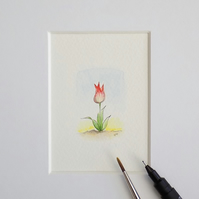Miniature Watercolour Flower Painting Tulip  4.5 cm x 3cm
