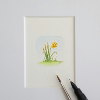 Miniature Watercolour Flower Painting Daffodil  4cm x 3.5 cm