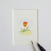 Miniature Watercolour Flower Painting Pansy 4 cm x 4 cm