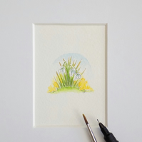 Miniature Watercolour Flower Painting Snowdrops  3.5 cm x 4 cm