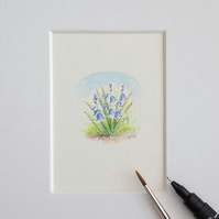 Miniature Watercolour Flower Painting Bluebells 4cm x 4cm