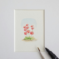 Miniature Watercolour Flower Painting Candelabra Primula 5 cm x 3.5 cm