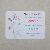 New Baby Announcement Personalised Girl Bunny (pack of 6)